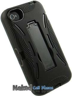 NEW BLACK ARMOR SOFT RUBBER SKIN HARD CASE COVER STAND FOR APPLE