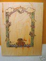 Wood Mounted Rubber Stamp Noahs Ark with Rainbow