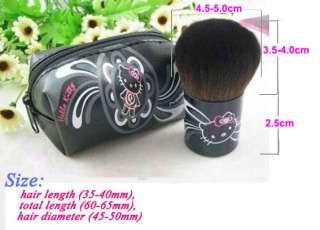 Mini Small Cute Hello Kitty Makeup Blush Brush & Pouch Purse Bag Black
