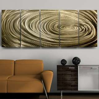 Modern Abstract Hand Painted Gold Metal Wall Art Decor Sculpture True