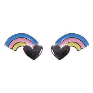 Tomas Sterling Silver Enamel Post Earrings   Heart Rainbow Jewelry
