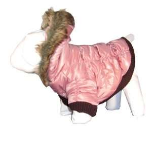 Pet Life Metallic Quilted Parka   Rose   XS: Home