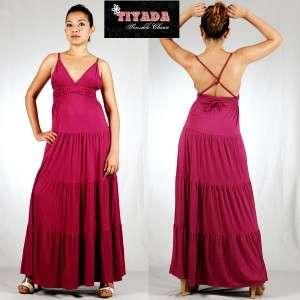 Summer hippie maxi dress boho cross back Magenta S L