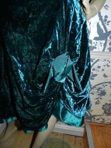 VINTAGE 80s EMERALD GREEN VELVET SWEETHEART PROM DRESS 12