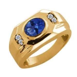 1.68 Ct Oval Sapphire Blue Mystic Topaz and Diamond 14k