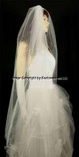 Ivory Bridal Wedding Veil Waltz Rhinestones Pencil, 40
