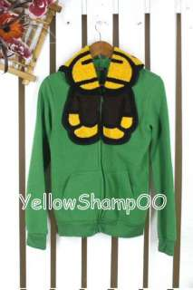 cute monkey hooded jacket green xs/s