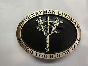 Journeyman Lineman Solid Bronze Belt Buckle Handcrafted Gift IBEW
