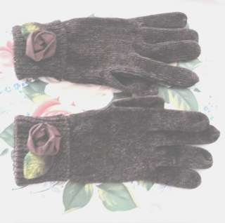 CHENILLE w BURGUNDY Satin ROSE Soft New Ladies GLOVES ~Size MED