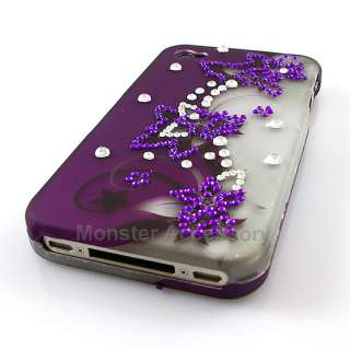 Purple Flowers Gem Bling Hard Case Cover For Apple iPhone 4S NEW
