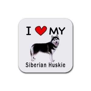 I Love My Siberian Huskie Dog Square Coasters (Set of 4
