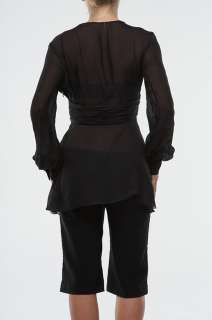 New Roberto Cavalli Long Top Blouse Shirt Black Size 46