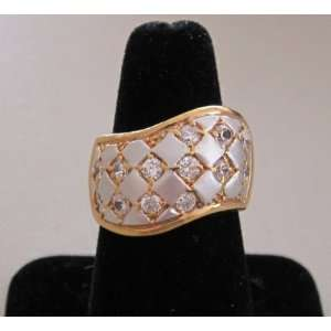 Fashion Ladies Ring   Gold Tone & Silver Tone BAND w Clear