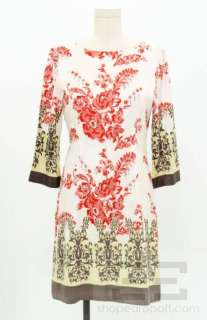 Marcus Exclusive White, Red & Brown Floral Printed Silk Shift Dress Sz