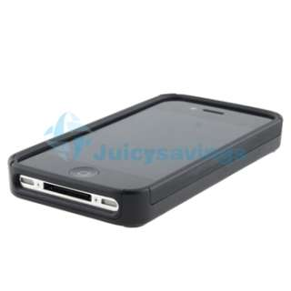 Black Hybrid TPU Bling Diamond Case Cover+AC Home Charger For iPhone 4