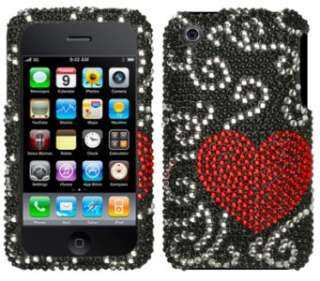Curve Heart Crystal Bling Case Cover for Apple iPhone 3G 3GS