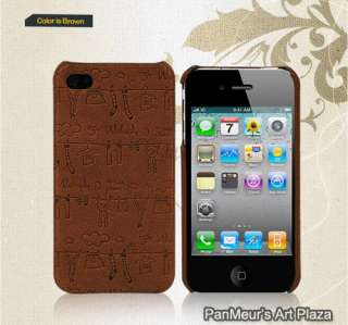 Apple iPhone4 Unique Protective Cell Phone Leather Case Cover (Antique