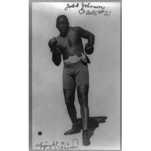 Jack Johnson,1910 boxing shorts and boxing gloves Home