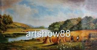 Old Master Antiquel Oil painting Landscape art Golden wheat fields 24