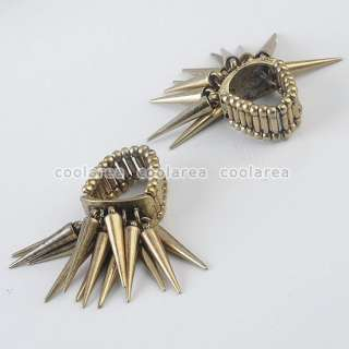 Vintage Punk Rock Gothic Spike Rivet Studs Stretchy Finger Ring S7