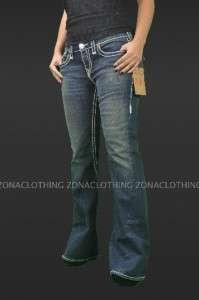 True Religion Joey Super T Boot Cut Denim Jeans Drifter Womens Flap