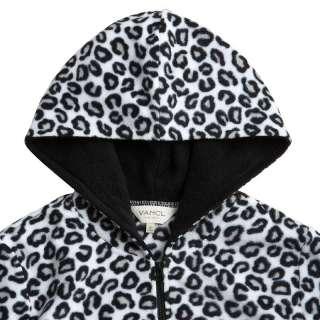 Vancl Leopard Pattern Polar Fleece Hoody/Coat/Hoodie Silver(Women
