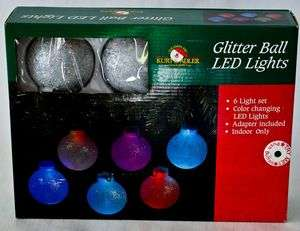 Glitter Ball LED Lights ~ 6 Light Set Color Changing LED Lights
