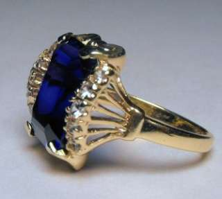 ANTIQUE ART NOUVEA FILIGREE 8.25cts! KASHMIR SAPPHIRE SOLID GOLD RING