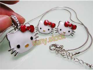 beautiful Red hello kitty necklaces and earrings L23