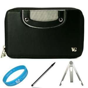 Black Leather Carrying Case Cover with Soft Microfiber