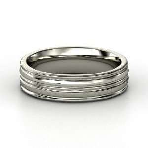 Lathe Wedding Band, 14K White Gold Ring Jewelry