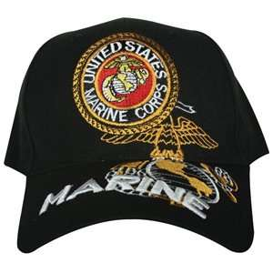 Black US Marines Emblem Embroidered Ball Cap   Adjustable
