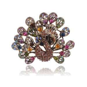 Design Colorful Rainbow Crystal Rhinestone Gold Tone Peacock Bird Ring