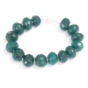 Designer Natural Faceted Green Emerald Beaded Bracelet