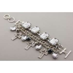 Burnish Silver Casting Cross Charm Toggle Bracelet with Clear Acrylic
