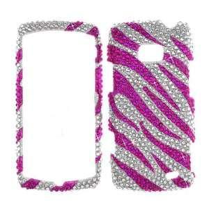 LG Ally VS740  Hot Pink & Silver Zebra Skin Full Diamond Xtreme