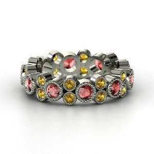 Hopscotch Eternity Band, 14K White Gold Ring with Red Garnet & Citrine