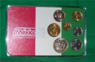 MEXICO 1986 COINAGE COINS COIN FUTBOL SOCCER PROOF SET