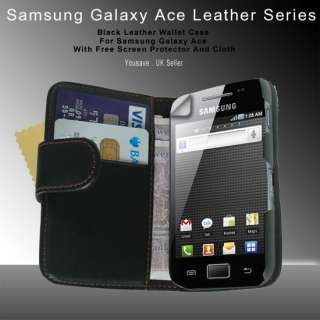 NEW LEATHER FLIP WALLET CASE FOR THE GALAXY ACE S5830