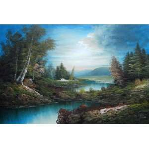 Lakeside Cabin in Mountain Area Forest Oil Painting 24 x