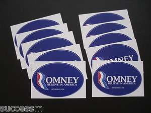 Mitt Romney Set of 10 2012 Oval Design Bumper Stickers   Mint
