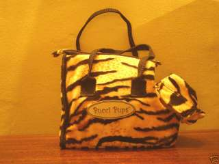 NEW EXOTIC ANIMAL PRINT TIGER DOG TOTE CARRIER FAUX FUR