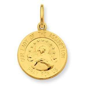 Silver & 24k Gold  plated Our Lady of the Assumption Medal Jewelry