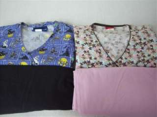 Medical Dental Scrubs Lot of 8 Print Design Outfits Sets Size SMALL SM