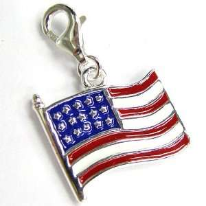 God Bless America Charm Pendant For European Lobster Clip On Charm