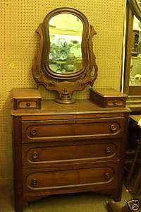 Original Antique Walnut Wishbone Dresser Vanity with Mirror w 5