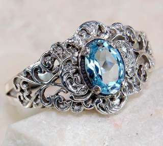Natural 2ct Aquamarine 925 Solid Sterling Silver Victorian Style Ring