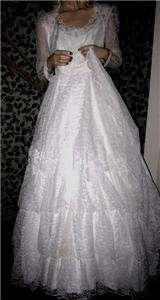 Sweet Romantic Vtg Bridallure 4 Ruffle Lace Layer Wedding Dress, Size