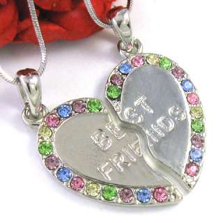 MULTI COLORFUL BEST FRIENDS BFF HEART PENDANT NECKLACE
