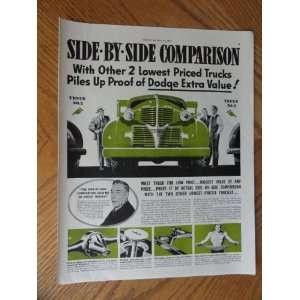 1939 Dodge Truck, Vintage 30s full page print ad. Color Illustration
